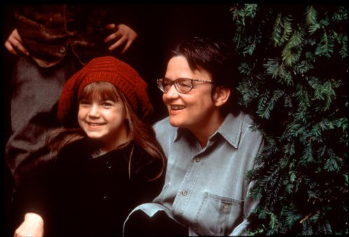 Agnieszka Holland (right) with actor Kate Maberly on the set of The Secret Garden (1993)