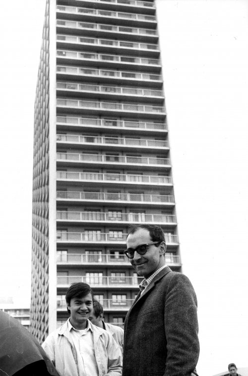 Against a towering block of flats in the Parisian suburbs during the summer of 1966 for 2 or 3 Things I Know about Her