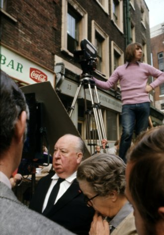 Hitchcock filming Frenzy (1972) on the streets of London